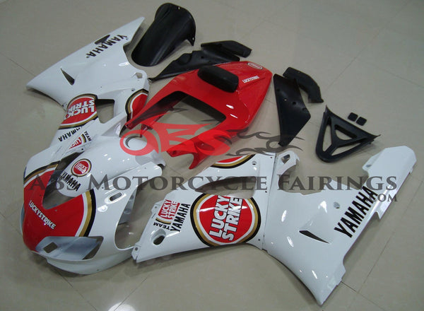 Red and White Lucky Strike Fairing Kit for a 1998 & 1999 Yamaha YZF-R1 motorcycle