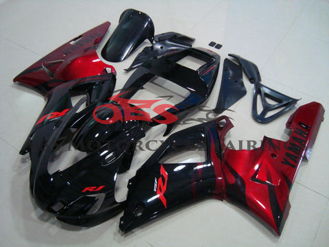Yamaha YZF-R1 (1998-1999) Black & Candy Apple Red Flame Fairings