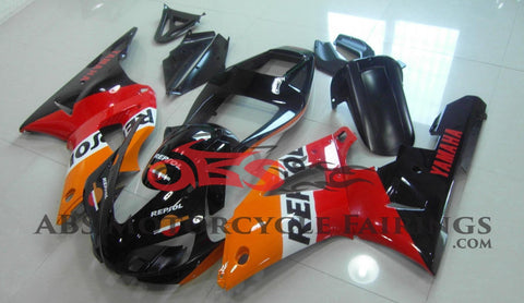 Black, Orange and Red Repsol Fairing Kit for a 1998 & 1999 Yamaha YZF-R1 motorcycle
