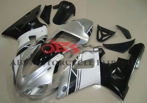Silver, White and Black Fairing Kit for a 1998 & 1999 Yamaha YZF-R1 motorcycle