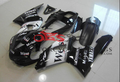 Black and White West Fairing Kit for a 1998 & 1999 Yamaha YZF-R1 motorcycle