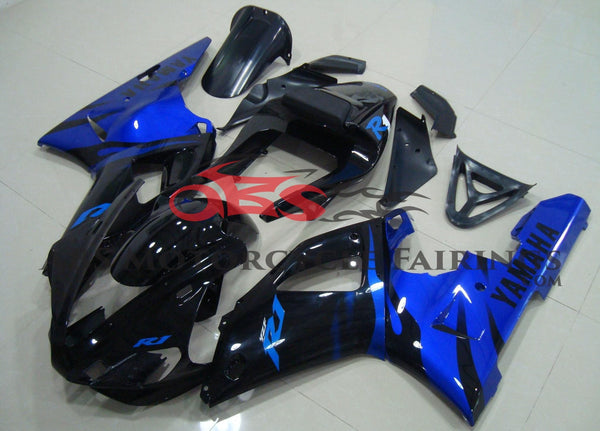 Black and Blue Flame Fairing Kit for a 2000 & 2001 Yamaha YZF-R1 motorcycle