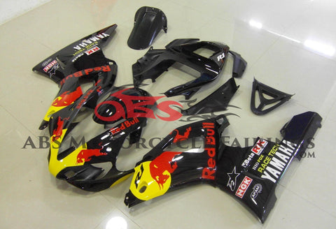 Black Red Bull Fairing Kit for a 2000 & 2001 Yamaha YZF-R1 motorcycle