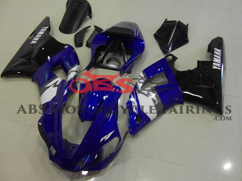 Blue and Black Fairing Kit for a 2000 & 2001 Yamaha YZF-R1 motorcycle