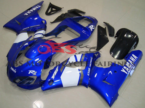 Blue and White Fairing Kit for a 2000 & 2001 Yamaha YZF-R1 motorcycle