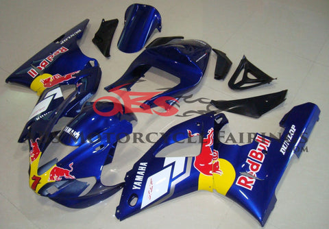 Blue Red Bull Fairing Kit for a 2000 & 2001 Yamaha YZF-R1 motorcycle