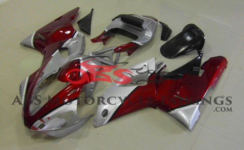 Candy Apple Red and Silver Fairing Kit for a 2000 & 2001 Yamaha YZF-R1 motorcycle