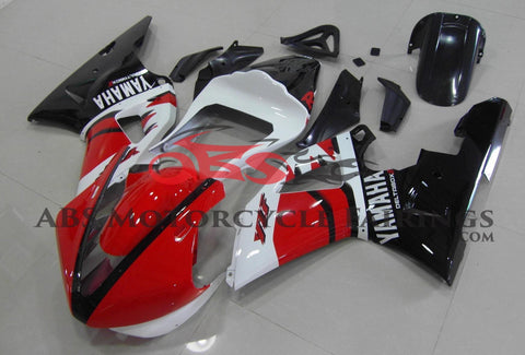 Red, White and Black Race Fairing Kit for a 2000 & 2001 Yamaha YZF-R1 motorcycle