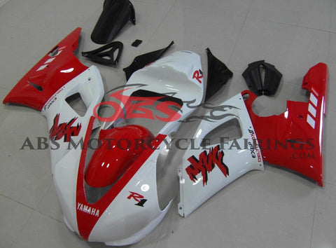 Red and White DeltaBox Race Fairing Kit for a 2000 & 2001 Yamaha YZF-R1 motorcycle