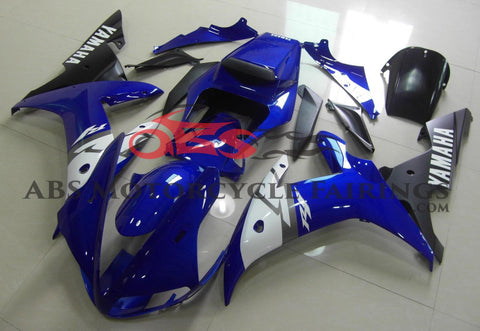 Blue, White and Black Fairing Kit for a 2002 & 2003 Yamaha YZF-R1 motorcycle