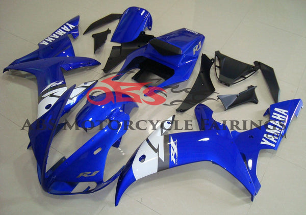 Blue, White and Silver Fairing Kit for a 2002 & 2003 Yamaha YZF-R1 motorcycle