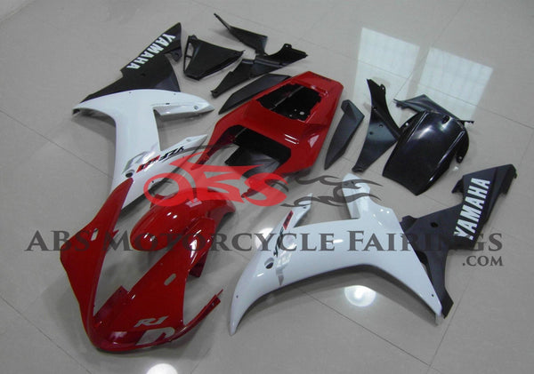 Red, White and Black Fairing Kit for a 2002 & 2003 Yamaha YZF-R1 motorcycle.