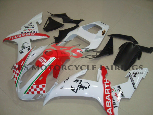 White & Red Abarth Fairing Kit for a 2002 & 2003 Yamaha YZF-R1 motorcycle