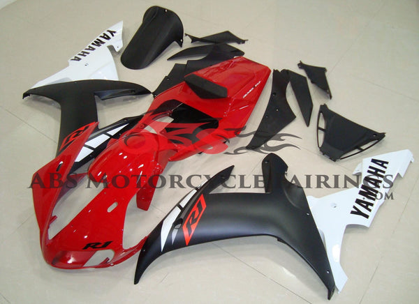 Red, Matte Black & White Fairing Kit for a 2002 & 2003 Yamaha YZF-R1 motorcycle.