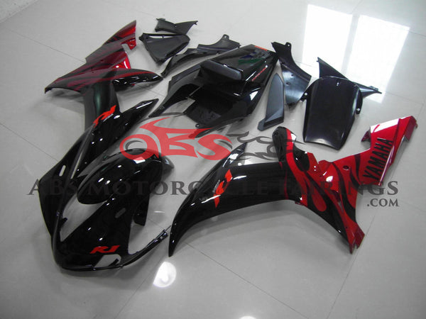 Black with Red Flame 2002-2003 Yamaha YZF-R1