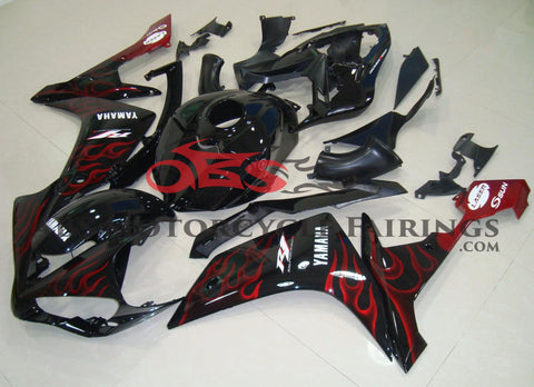 Black with Red Flame 2007-2008 Yamaha YZF-R1