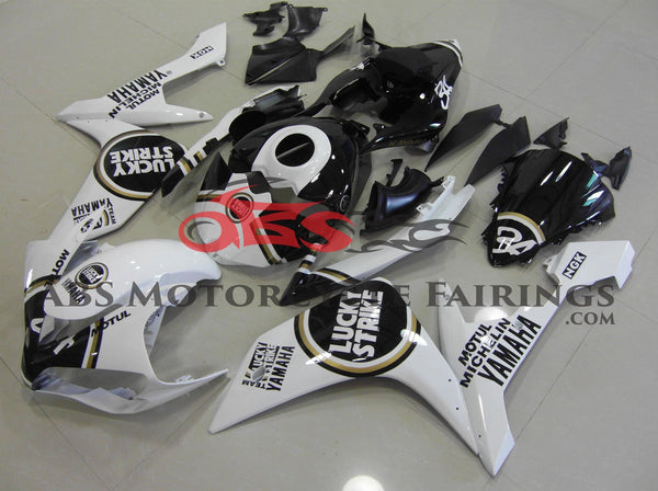 White, Black and Gold Lucky Strike Fairing Kit for a 2007 & 2008 Yamaha YZF-R1 motorcycle