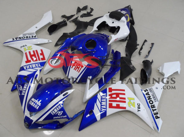 Blue, White and Red FIAT #21 Fairing Kit for a 2007 & 2008 Yamaha YZF-R1 motorcycle