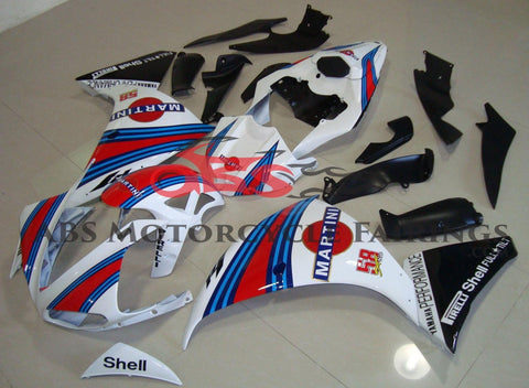 White, Red and Blue Martini Fairing Kit for a 2012, 2013 & 2014 Yamaha YZF-R1 motorcycle