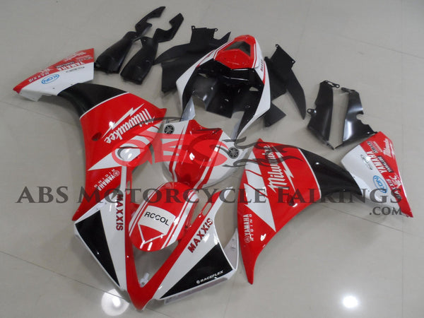 Red, White & Black Milwaukee Fairing Kit for a 2012, 2013 & 2014 Yamaha YZF-R1 motorcycle