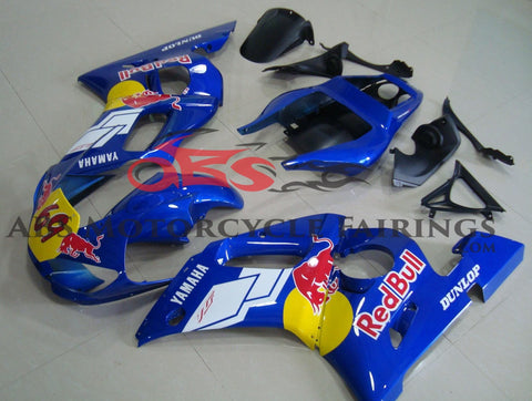 Blue, Red Bull #69 Fairing Kit for a 1998, 1999, 2000, 2001 & 2002 Yamaha YZF-R6 motorcycle