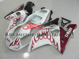 Yamaha YZF-R6 (1998-2002) White & Dark Red Flame Fairings