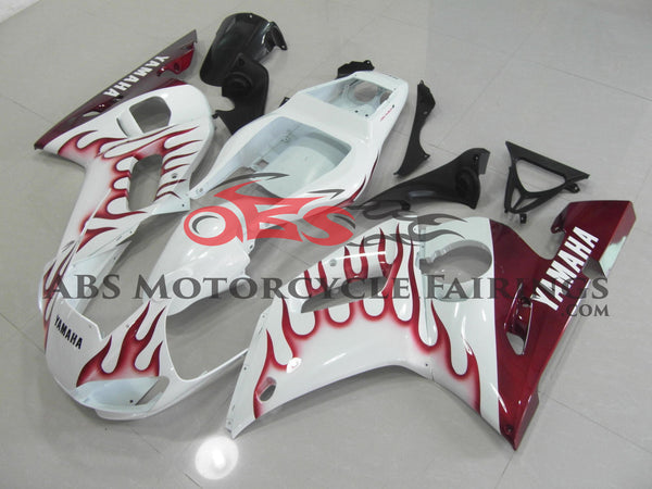 White with Red Flame 1998-2002 Yamaha YZF-R6