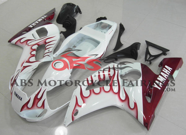 White and Dark Red Flame Fairing Kit for a 1998, 1999, 2000, 2001 & 2002 Yamaha YZF-R6 motorcycle