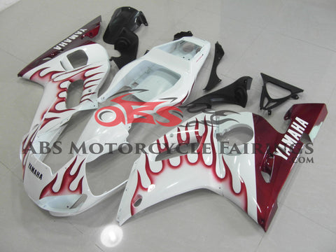 White with Red Flame 1999-2002 Yamaha YZF-R6