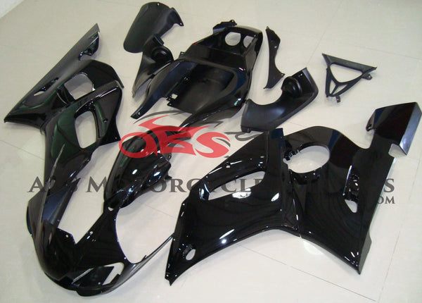 Gloss Black Fairing Kit for a 1998, 1999, 2000, 2001 & 2002 Yamaha YZF-R6 motorcycle