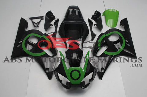 Black and Green Fairing Kit for a 1998, 1999, 2000, 2001 & 2002 Yamaha YZF-R6 motorcycle