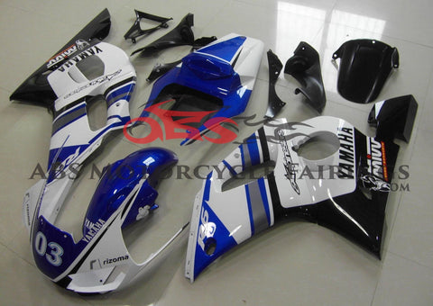 Blue, White and Black Fairing Kit for a 1998, 1999, 2000, 2001 & 2002 Yamaha YZF-R6 motorcycle