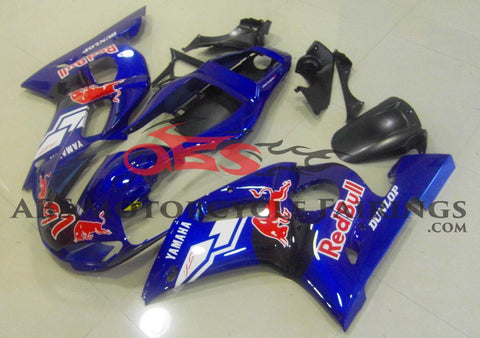 Blue and Black, Red Bull #91 Fairing Kit for a 1998, 1999, 2000, 2001 & 2002 Yamaha YZF-R6 motorcycle
