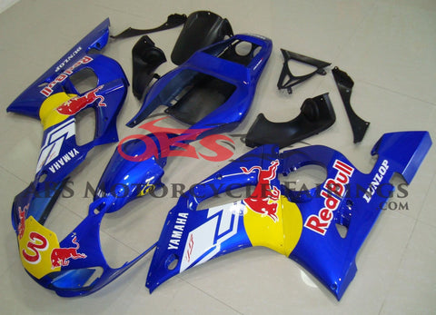 Blue, Red Bull #3 Fairing Kit for a 1998, 1999, 2000, 2001 & 2002 Yamaha YZF-R6 motorcycle