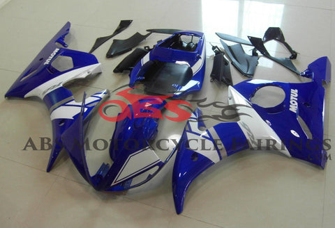 Blue and White Fairing Kit for a 2003 & 2004 Yamaha YZF-R6 motorcycle