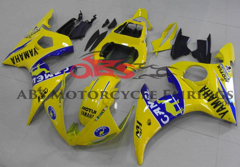 Yellow & Blue Camel Fairing Kit for a 2003 & 2004 Yamaha YZF-R6 motorcycle