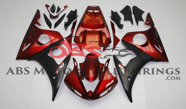 Dark Red and Matte Black Fairing Kit for a 2003 & 2004 Yamaha YZF-R6 motorcycle