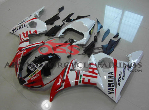 Red and White FIAT Fairing Kit for a 2003 & 2004 Yamaha YZF-R6 motorcycle