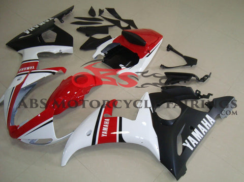 Red, White & Matte Black Fairing Kit for a 2003 & 2004 Yamaha YZF-R6 motorcycle