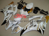 White, Black and Gold Flame Fairing Kit for a 2008, 2009, 2010, 2011, 2012, 2013, 2014, 2015 & 2016 Yamaha YZF-R6 motorcycle