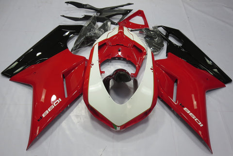 Red, White & Black fairing kit for DUCATI 1098: 2007, 2008, 2009, 2010, 2011, 2012 motorcyclesDucati 1098 (2007-2012) Red, White & Black Fairings