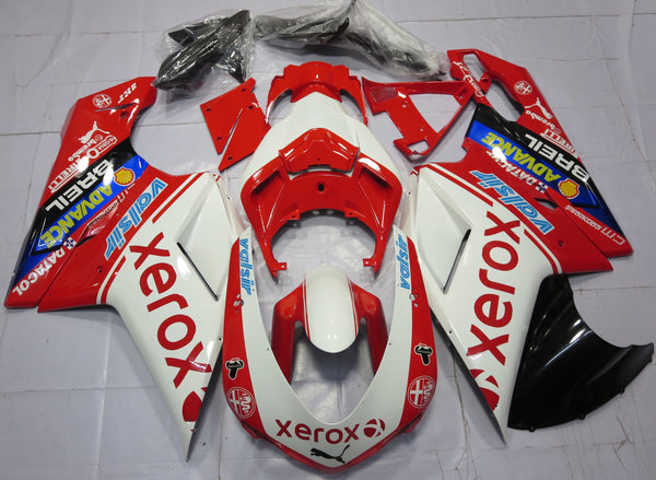 Red & White Xerox fairing kit for DUCATI 848 2007, 2008, 2009, 2010, 2011, 2012 motorcycles