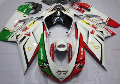 White, Green & Red fairing kit for DUCATI 848 2007, 2008, 2009, 2010, 2011, 2012 motorcyclesWhite, Red, Green, Black & Gold Fairing Kit for a 2007, 2008, 2009, 2010, 2011 & 2012 Ducati 848 motorcycle.
