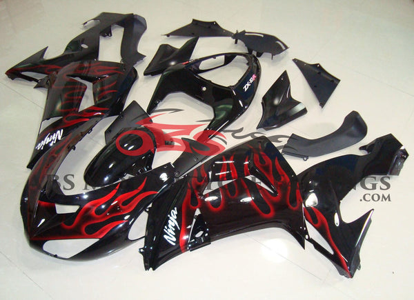 Black with Red Flame 2006-2007 Kawasaki ZX-10R