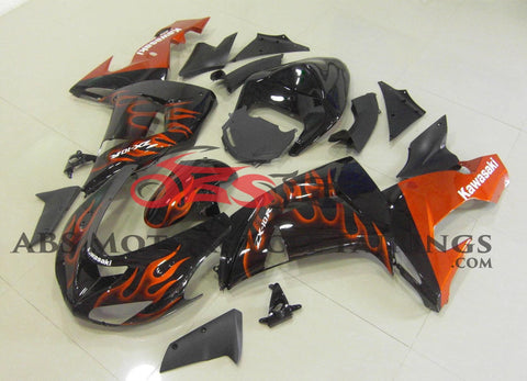 Black with Orange Flame 2006-2007 Kawasaki ZX-10R