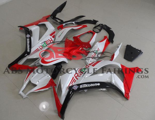 Kawasaki ZX10R (2011-2015) White, Red & Black Rapid Fairings