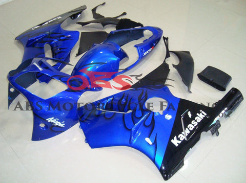 Blue and Black Flame Fairing Kit for a 2002, 2003, 2004, 2005 & 2006 Kawasaki Ninja ZX-12R motorcycle
