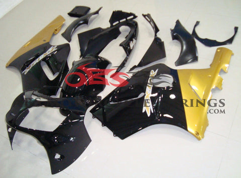Black, Gold and White Fairing Kit for a 2002 & 2006 Kawasaki Ninja ZX-12R motorcycle