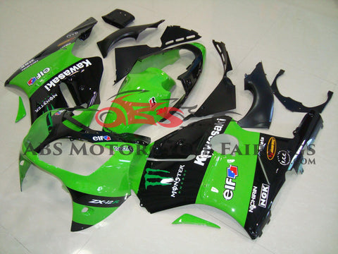 Kawasaki ZX12R (2000-2001) Green & Black Monster Energy Fairings