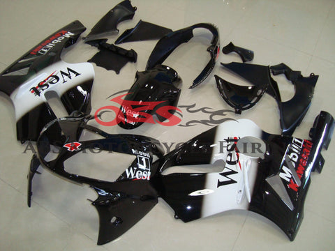 KAWASAKI NINJA ZX12R (2002-2006) BLACK, WHITE & RED WEST MOBIL FAIRINGS